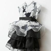 Toddler Kid Girl Sleeveless Dress Gauze Tops+Strap DressTutu Flower Dress