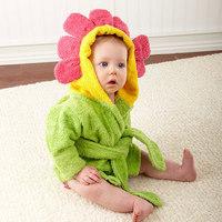 Baby Cute hooded bathrobe 2014 Retail 1 pcs baby bath towel/bath infant Flower design bathing robe Little Spring GLZ-O0043