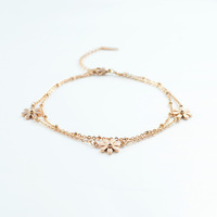 Fashion Double Chain Flower  Titanium Steel Rose Gold Bracelet For Women