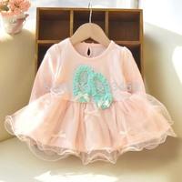 Kid Girls Crew Neck Long Sleeve Dance Shoes Pattern Dress Bow Tutu Princess Dress
