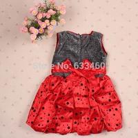 Toddler Kids Girls Flower Polka Dots Puffy Dress Princess Dress Sleeveless Dress
