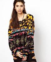 new arrival 2014 autumn winter women european style sweater women  geometric print vintage long sleeve chic pullover