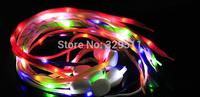 2014 New Arrival 10 pcs/lot  LED Flashing Glowing Webbing Shoelaces Shoestring Light Up Fiber Optic LED Shoe Laces Free Shipping