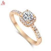 New Arrival  Fashion 18K Gold Crystal Timeless Striking Wedding Ring For Women High Quality KUNIUJ1696