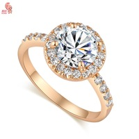 Fashion New Arrival 18K Gold Plated Crystal Round  Shining cocktail  Wedding Ring For Women KUNIU J1707
