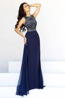 Amazing high neck crystal beaded chiffon long formal evening dress 2014