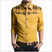 2014 Brand New Mens Long Sleeve Dress Shirts Men Fashion Button Designer Patchwork Casual Camisa Slim Fit Men's Social Shirts