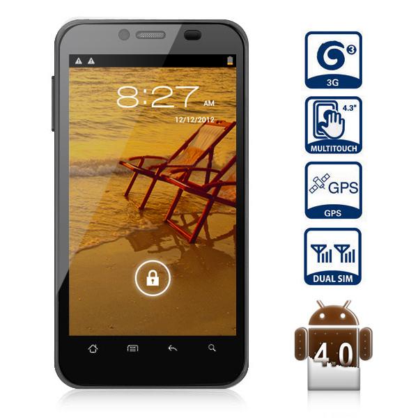 New Russian Language 4.3 Inch Smart Phone MTK6577 512 MB 4GB Android 4.0 Dual Core 3G Dual SIM GPS Wifi Bluetooth 5.0MP Camera(China (Mainland))