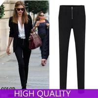 2015 New Autumn High Quality Elegant Leggings Fashion Ladies Stretch Slim Pencil Pants Women Trousers Zipper Hip Skinny Hot Pant
