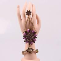 popular unique vintage gold bangle indian finger ring bracelets wholesale crystal flower autumn jewelry