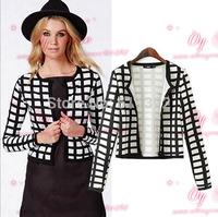 Women's small suit the new autumn 2014 ms plaid short coat dress