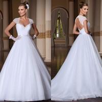 Vestido de Casamento Custom Made Vestido de Noiva 2014 Ball Gown Wedding Dress Open Back Vestidos de Noivas Sexy Bridal Gown