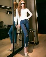 2014 New In Fashion Women Jeans Middle Waist Holes Decoration Tassels Lap Slim Female Long Pencil Denim Pants Plus Size