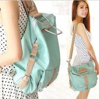 Hot New 2014 fashion women backpack vintage laptop leather school tactical backpacks remale girls 2 Ways Messenger Shoulder Bags