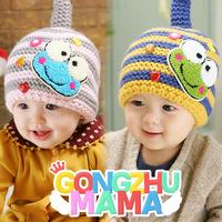 Children Beanies! baby new born boys caps girls hats autumn striped hat winter cap weave cartoon frog  bonnet  ETJ-A0211