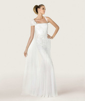 RWD106 cap sleeve scoop neckline sleeveless vestidos de noiva vintage white long beach embroidery wedding dress