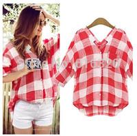 HR8528  Blusas Femininas  2014 New Autumn Women Blouse   Ladies Plaid Causal  Blouses Shirt