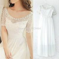 Prom Dress Long Luxury Chiffon Beading Short Sleevel Floor Length Prom Dresses China Free Shipping