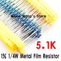 (200Pcs/Lot) 1/4W 5K1 ohm +/- 1% resistor 1/4w 5.1K ohm Metal Film Resistors / 0.25W color ring resistance