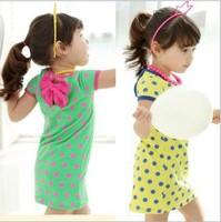 New style dress sweet girls 2014 spring and summer children's clothing dot dress