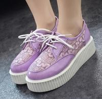 Fashion Summer Women Creepers Flat Shoes HARAJUKU Shoelace PU Leather Flat Platform Punk Shoes
