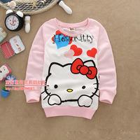 New 2014 Fashion Girs Autumn Tops Carton Hoodies Cotton print bow cat girs Kids long-sleeved sweater hoodie Children Sweatshirts