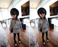 2014 fashion New Girls spring/autumn black&white dress kids girl party Houndstooth dress Swallow gird girl dress for children