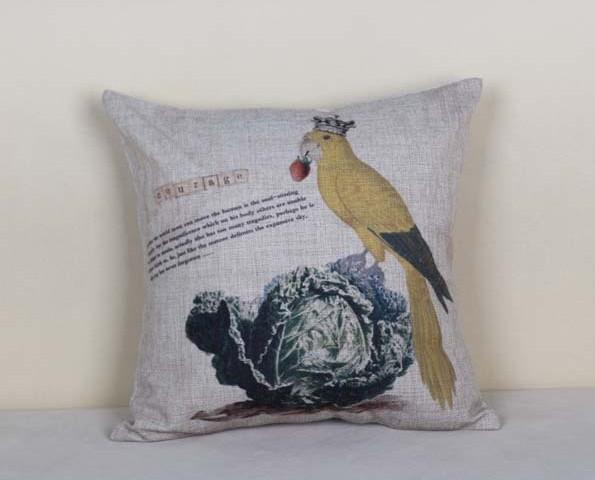 "crown parrot cushion cover,18x18"" nautical pillowcase outdoor cushion(China (Mainland))"