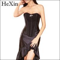 Sexy Lace Up Boned Burlesque Corset Tops Black Lace Trim Corset Busiter Basque Lingerie Underwear for party Plus Size S~XXL 4452