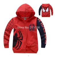 2014 fashion autumn New red Spiderman coat children spider-man terry outerwear boys letter jackets