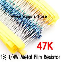 (200Pcs/Lot) 1/4W 47Kohm +/- 1% resistor 1/4w 47K ohm Metal Film Resistors / 0.25W color ring resistance