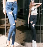 2014 New In Fashion Korean Style Women's Jeans Big Holes Decoration All Match Slim Female Long Pencil Denim Pants Plus Size