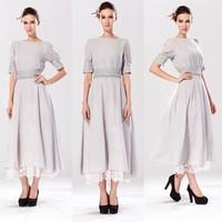 New 2014 Women Lace Chiffon Dress Party Evening Elegant Oganza Embroidered High Waist Dresses Vestidos Femininos Plus Size 14897