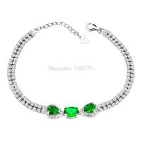 GNS0380 925 Sterling Silver Bracelets Grace 7+1 inch Chain AAA  Green zircons Fashion Bracelets for women Jewelry Free shipping