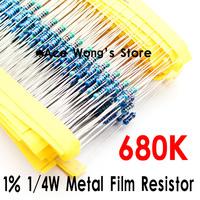 (200Pcs/Lot) 1/4W 680Kohm +/- 1% resistor 1/4w 680K ohm Metal Film Resistors / 0.25W color ring resistance