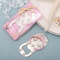 Flip flop wine bottle opener with starfish design 40PCS/LOT wedding favor guest gift -pink Color
