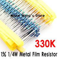 (200Pcs/Lot) 1/4W 330Kohm +/- 1% resistor 1/4w 330K ohm Metal Film Resistors / 0.25W color ring resistance