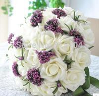 30 white roses wedding Korean bride holding flowers simulation free shipping