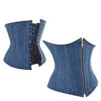 Blue Denim Underbust Corset Jean Blue Corselet Front Zip Waist Training Corsets and Bustiers Top Sexy Body Shape Corsage 443517