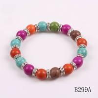 2014 new fashion cheap colorful design rhinestone charm turquoise stone bracelet autumn elegant jewelry