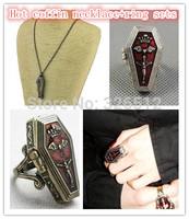 1set lady Fashion Vintage Gold silver Plated Metal brand Box Jack Skellington Coffin rings Pendant Necklace Sets unisex anel