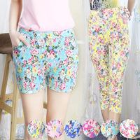 big size Drop 2014 Small floral pant waist straight pants casual beach pants leggings Fashion Girls