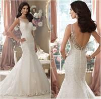 Custom Made Vestidos de novia New Fashion 2014 Beaded Lace Appliqued Mermaid Wedding Dress Sexy Backless Wedding Dresses 2014