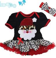 Girl's Leopard grain dresses christmas dress santa claus costume baby girls red tutu short sleeve dress + headband red black
