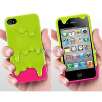 3D Melt Cream Hard Case Cover Skin For Apple iPhone 4 4G 4S ipod touch 4 green & rose pink, white &grey