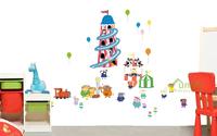 Funlife New Cartoon Peppa Pig Amusement Park DIY Mural Design Wall Decals for Kids Bedroom Home Decors