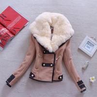 2014 new arrival women coat Fashion Short design Large fur collar Personality Button Zipper Pockets jacket Lady woollen coat