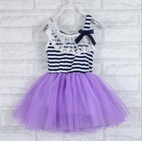 New striped dress girls 2014 spring and summer dress tutu cute kids