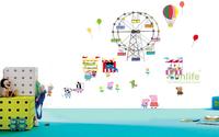 Funlife New Cartoon Peppa Pig Amusement Park Ferris Wheels DIY Mural Design Wall Poster for Kids Children Home Decors