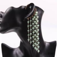 Minimum order $10 fashion 2014 new model stone bead chain tassel pendant dangle earrings ear cuff for women party jewelry